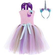OBEEII Bambine Costumi Unicorno Abito Principessa Carnevale Vestito da  Ragazze Festa Halloween Natale Cerimonia Cosplay Party b6573090b8c