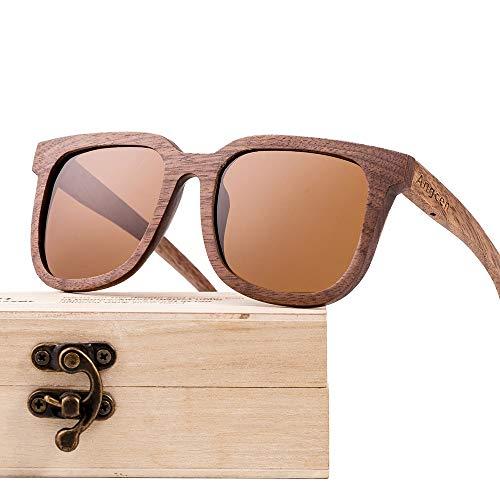 FURUDONGHAI Black Walnut Wooden Glasses Sonnenbrille mit polarisierter Beschichtung Fashion Retro Unisex Calico Lens UV400 Protection besonders geeignet für sommerreisen oder Outdoor s