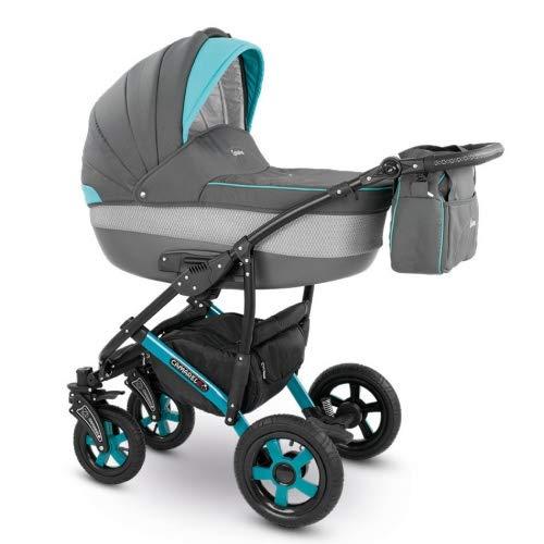 Camarelo CARERA 3in1 mit Babyschale, Kombikinderwagen - Kinderwagen - Buggy Farbe XCA-5 grau/hellgrau/türkis