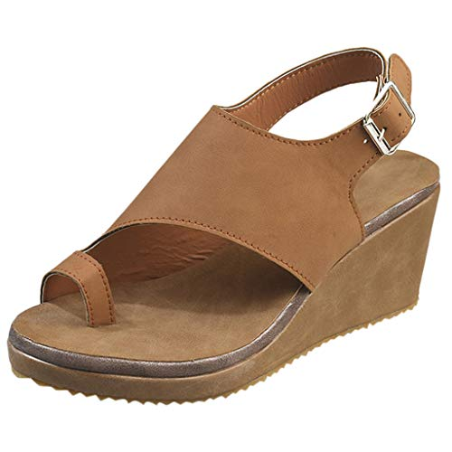 Meilleure Vente LuckyGirls Women Open Toe Breathable Beach Sandals Rome Buckle Strap Casual Wedges Shoes