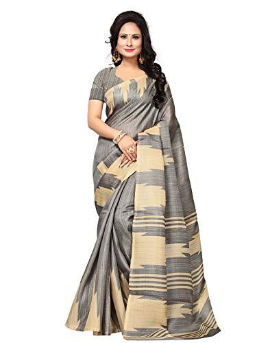 Kanchnar Women\'s Grey and Beige Art Silk Saree - 689S5135