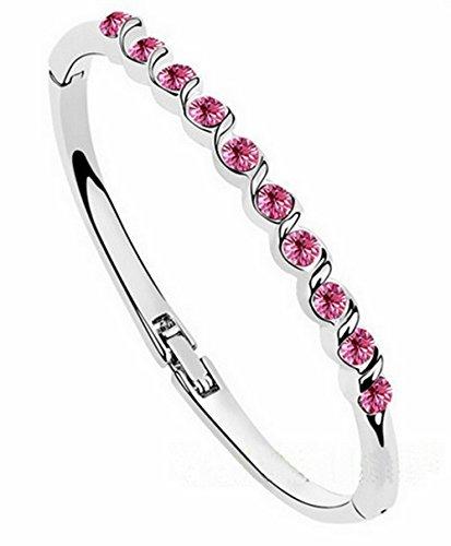 (Oval) Armband vergoldet Swarovski Elements Rosa dunkle Haare)
