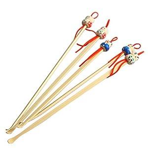 ThreeCat Ohrwärmer Bambus rot blau Puppe hoch Earwax Curette Remover Spoon Earpick Tool 5 Stück