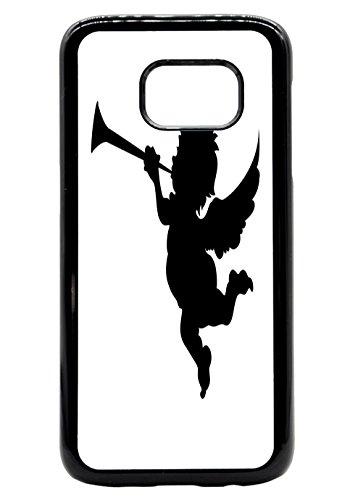 Cupid Cherub Trumpet Silhouette Design Rubber Bumper Hard Back Phone Case Cover for (Samsung Galaxy S9 Plus) -