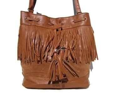 New Choice - sac à main - frange - marron - besace - bandoulière - porté épaule