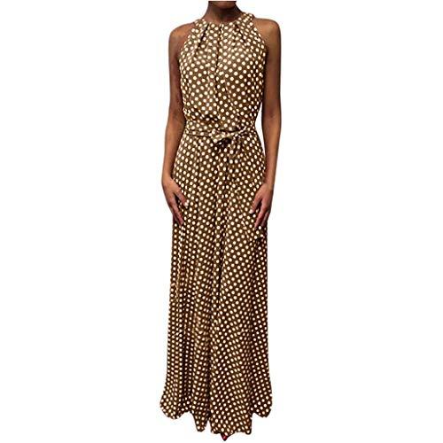 Strand Dot (AZZRA Frauen-beiläufiger Sommer-Punkt druckte ärmelloses Strand-Kleid-Sommerkleid 1950er Vintage Polka dots Pinup Retro Faltenrock tailliertes maxikleid)