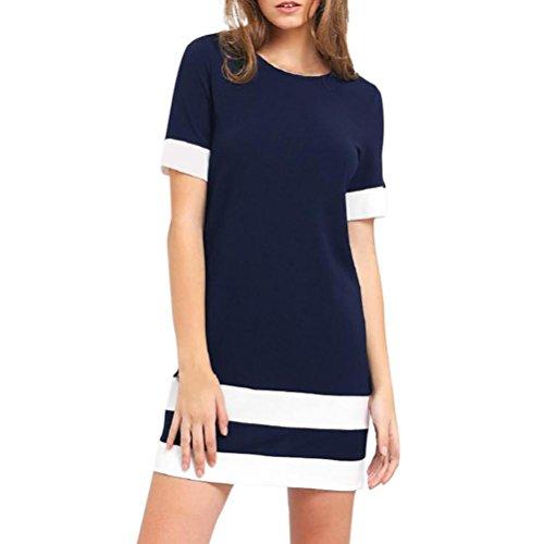 Damen Kleider FORH Frauen Kurzarm Strandkleid Fashion Color Block Streifen Kurzarm Lang Top Casual O-Ausschnitt Bluse Patchwork Minikleid Loose T-shirt Kleid (S, Marine) (Color Block-spitze, Top)