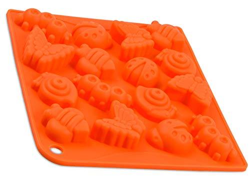 BlueFox Silikonform mit 16 Insekten, Pralinenform Biene, Schokolade, Giessform, Silicone Mold, Kindergeburtstag, Seifenform, Kuchenverzierung, Schmetterling, Raupe, Käfer, Deko, Farbe: Orange