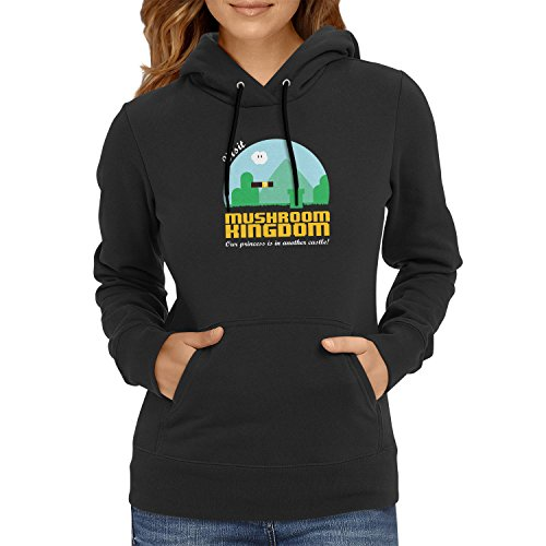 NERDO - Visit Mushroom Kingdom - Damen Kapuzenpullover, Größe S, schwarz (Donkey Kong Kostüm Shirt)