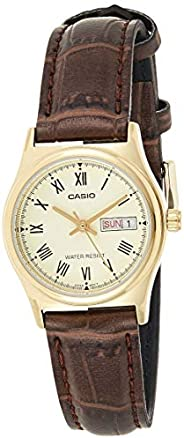 Casio Women's Gold Dial Leather Analog Watch - LTP-V006GL-9