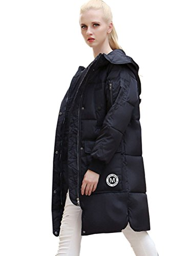 MatchLife Femme Manteau Trench Parka Hiver avec Capuche Blousons Style4-Noir