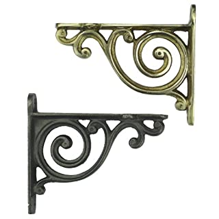 Pair of Small Ornate Bathroom Shelf Brackets with Victorian Scroll Design - Brass or Cast Iron 4