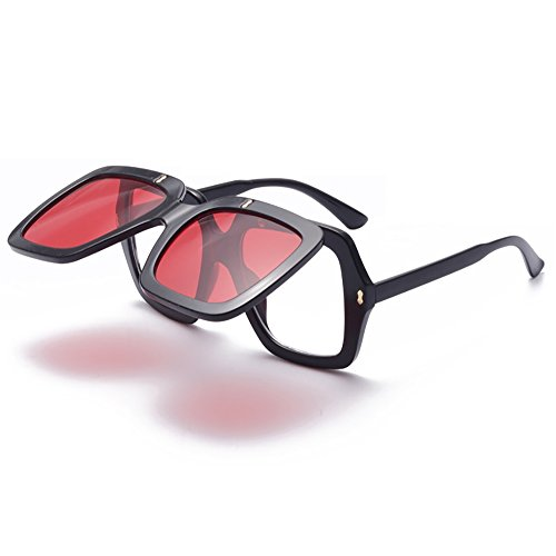 Frauen Retro Sonnenbrille Flip-Cover Vintage 80er Jahre klassische Mode Designer Square Eyewear Oversized