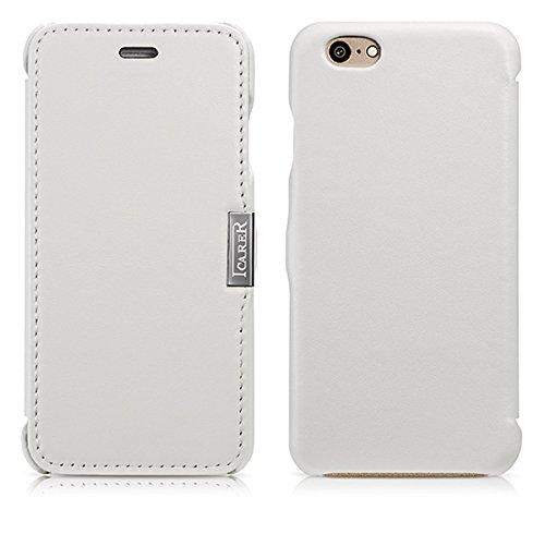 Luxus Tasche für Apple iPhone 6 und 6S (4.7 Zoll) / Außenseite aus echtem Leder / Innenseite aus Textil / seitlich aufklappbar / ultraslim / Folder Case / Farbe: Weiß