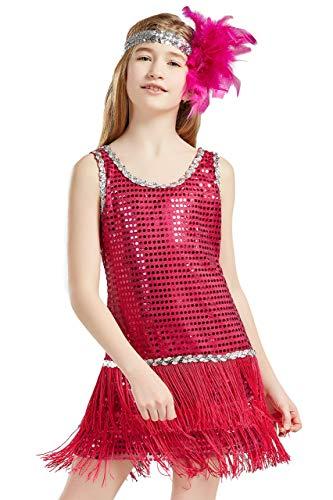 Girl Damen Kostüm Jahre Gatsby 20er - Coucoland 1920s Kleid Mädchen Pailletten Charleston Kleid mit Feder Stirnband Great Gatsby Stil Fasching Kostüm Kleid (Rose Rot, L)