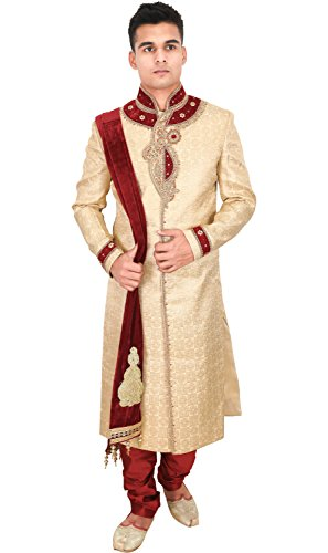La Rainbow Mens Embroidered Wedding Banarasi Jacquard Sherwani (Beige and Maroon)