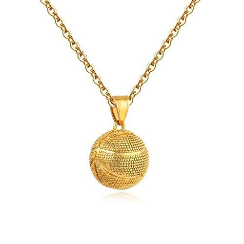 Aienid Kettenanhänger Edelstahl Gold Basketball Design Halskette Unisex Size:50X1.7CM