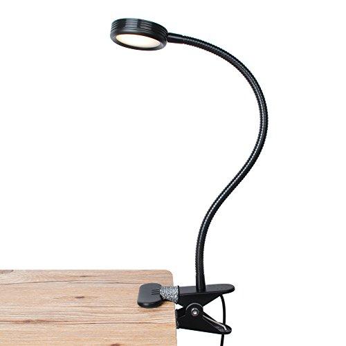 Preisvergleich Produktbild Klemmleuchte LED Bett,  LEPOWER Buch klemmlampe dimmbar mit USB kabel und Netzteil,  Leselampe mit Schalter für 2 Farbmodi und 2 Helligkeitsstufen,  flexibel Schwanenhals LED Schreibtischlampe Leuchte für Kinderzimmer,  Bücherregal,  Schrank,  Schwarz