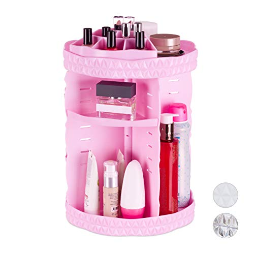Relaxdays Make Up Organizer, 360° drehbar, Acryl, einstellbarer Kosmetik Organizer, Nagellack- & Pinselhalter, pink (Make-up Organizer In Pink)