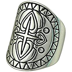 Boho 1pc De Plata Antigua Grabado Cruz Patron De Flores De Ancho 19mm Anillo