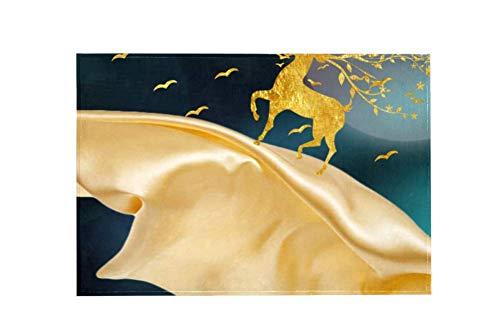Desheze Moderne, rutschfeste Fußmatten für Zuhause, Büro, Auto, Haustiere, Goldenes Hirsch, 91,4 x 61 cm, Multi, 183x122cm/72x48in (Shampooer Home-teppich)