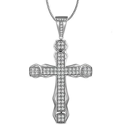 Adisaer Sterling Silber Damen Anhänger Halskette Kruzifix Kreuz Kristall Zirkonia 925 Silber Kette mit (Amethyst Sterling Silber Kruzifix)
