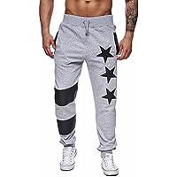 Hombres Pantalones, Manadlian Hombres Pantalones casuales Jogger Sweatpant de baile Sportwear Baggy Pantalones de diseño delgado (M, Gris)