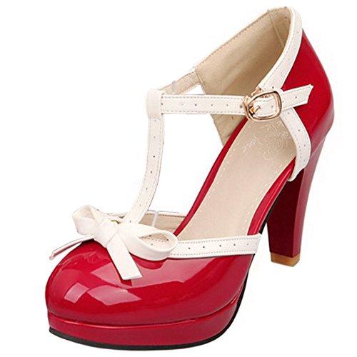 Zanpa Donne Classico T Strap Tacco Scarpe D Orsay Sandali Spiaggia Rosso