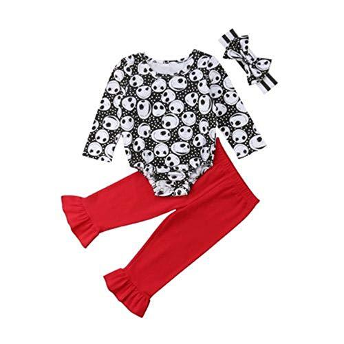 Wang-RX Halloween Neugeborenes Baby Mädchen Kleidung Langarm Skelett Strampler Lange Flare Hosen Outfit -