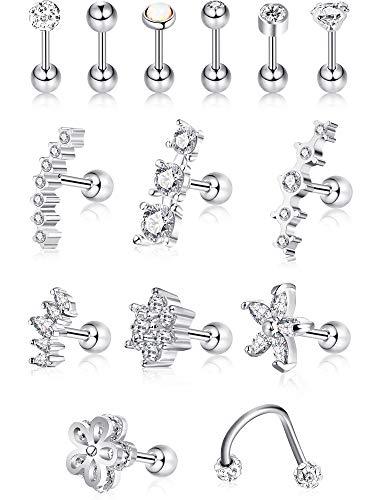 16g acciaio inossidabile orecchini trago di cartilagine stud di cartilagine helix barbell per donne ragazze (colore set 1, 14 pezzi)