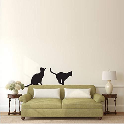 (Lvabc Katzen Sitzen Und Springen Silhouette Wandaufkleber Tier Home Decor Vinyl Abnehmbare Diy Wandtattoos Kunst Wandbilder 34X59 Cm)