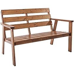 Java Exclusiv Ambientehome Hanko - Banco de jardín de 2 plazas, madera maciza, color marrón