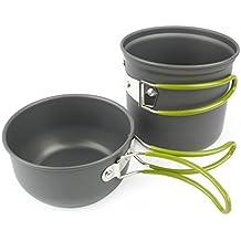 Grenhaven – SET dos partes Batería de cocina para camping, Sartén (tapa), olla y bolsa de malla - Ligera y compacta con asas plegables de silicona, para camping senderismo excursión - Aluminio anonizado
