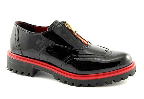 PREGUNTA 84205-VS nero scarpe donna zip vernice inglese 38