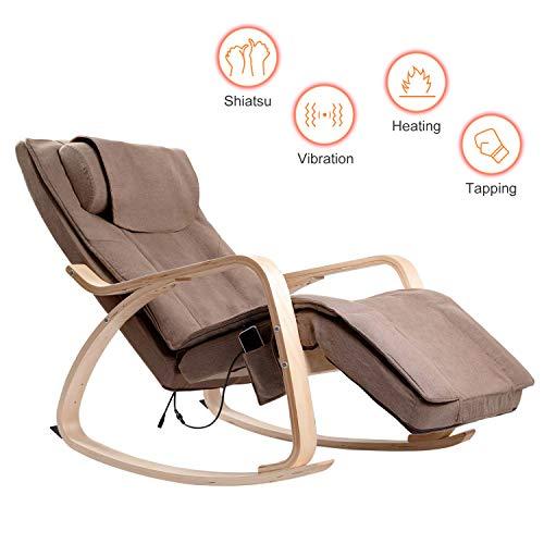 Rimdoc Massage-Sessel für zuhause, Shiatsu Schaukelstuhl, elektrisch, mit Massage und Wärme Funktion Relaxstuhl Schaukelsessel Schwingsessel mit Kopfstütze mit Seitentasche (Braun) -