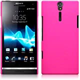 Sony Xperia S LT26i Hybrid Rubberised Back Cover Case / Shell Shield (Solid Hot Pink)