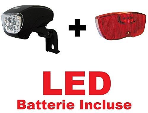 KIT Fanale a LED Luce Anteriore attacco PORTACESTO + Fanale a LED Posteriore attacco PORTAPACCO bicicletta Olanda - R - Graziella - Vintage - City Bike - Uomo / Donna