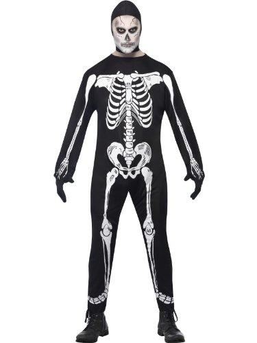 (Skelett Overall Kostüm mit Knochen grauen Kleid Größe M)