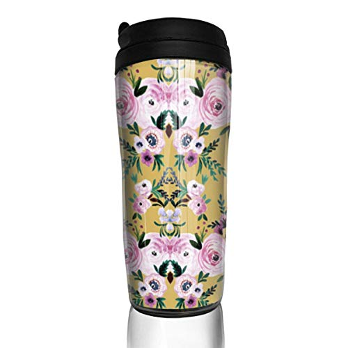 Travel Coffee Mug Victoria Floral Mustard 12 Oz Spill Proof Flip Lid Water Bottle Environmental Protection Material ABS