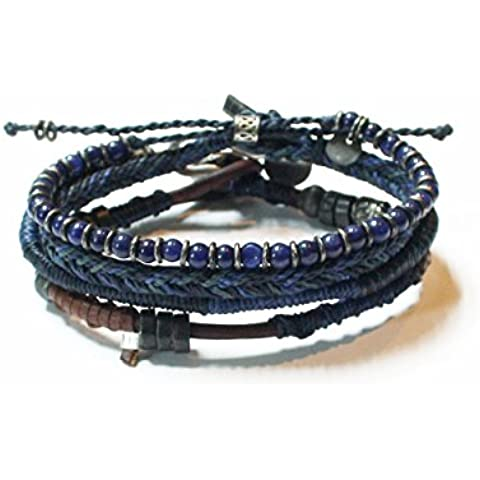 Hecho a mano Hip Piel Amistad trenzado azul Entrecruzado 4Tierra pulseras Mayan Jewelry–Hombres y Mujeres