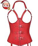 SLIMBELLE Damen Korsett Bustier Taillentrainer Unterwsche Former Shapewear mit Strumpfgürtel G-String Sexy Rot-4XL