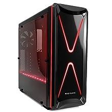 Mars Gaming MC6 - Boîtier d'ordinateur pour jeu (ATX, comprend 2 ventilateurs de 12cm, VGA jusqu'à 375mm, éclairage RGB, CPU jusqu'à 159mm de hauteur, USB 2.0/3.0, audio/micro), Noire