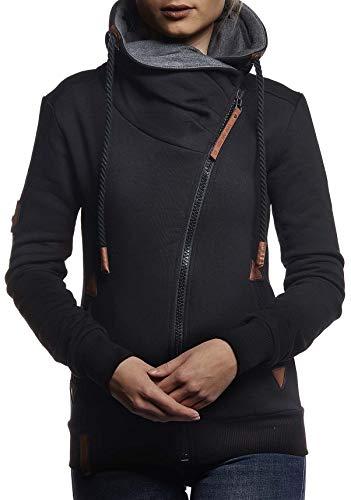 LEIF NELSON Damen Freizeitjacke-Hoodie Kapuze | Moderne Sweatjacke-Kapuzenpullover | Frauen Jacke Slim Fit;10260;L,SC
