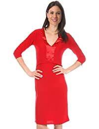 Nife Sexy Dress with V-Neck, red