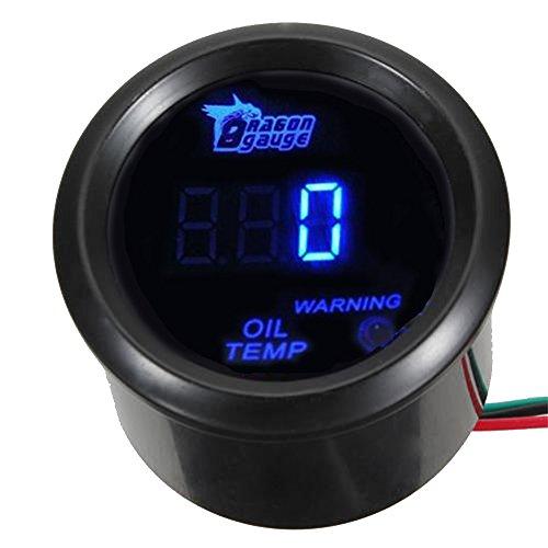 Mintice 12V Auto 2' 52mm Universale Digitale led blu leggero Indicatore temperatura olio Calibro di auto