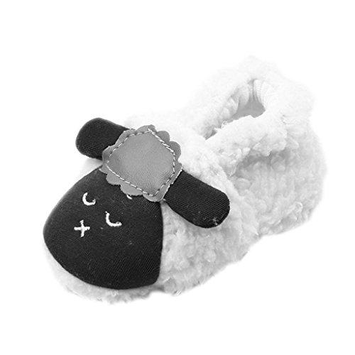 Chaussures Premiers Pas Molleton Chaussette Baby Toddler Souple Animal en Peluche Blanc