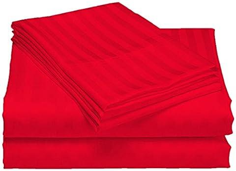 scalabedding Tasche Tiefe 100% ägyptische Baumwolle 500TC 50,8cm Blatt 2Stück–leuchtrot gestreift