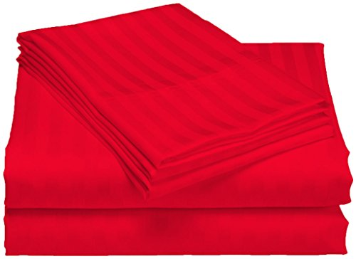 SCALABEDDING ägyptische Baumwolle, Fadenzahl 500, 20-Zoll-tiefe Tasche-Set Spannbetttuch und Kissenbezug Doppel-Blutdruckmessgerät, rot gestreift -