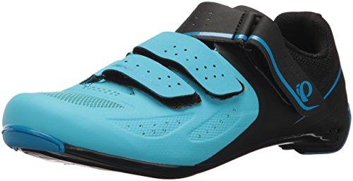 Pearl iZUMi Women's W Select Road v5 Cycling Shoe, Black/Aqua Blue, 43.0 M EU (10.8 US)