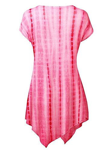 belego femmes unique du Drap-housse confortable longue tunique Tops ourlet Mouchoir slim T-shirt à manches courtes pour femme Rouge - Rose rouge